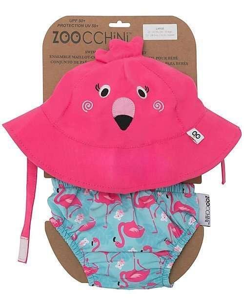 Zoocchini Set Costumino Contenitivo e Cappellino Fenicottero-0
