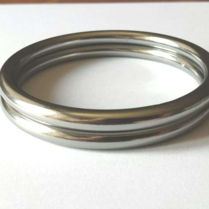 coppia di anelli argento lucido taglia l-0