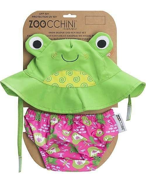 Zoocchini Set Costumino Contenitivo e Cappellino Rana-0