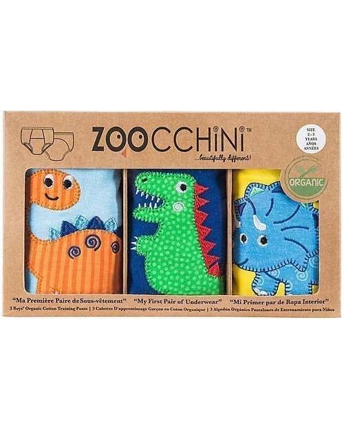 zoocchini training pants da 3 dinosauri bimbo 2-3-0