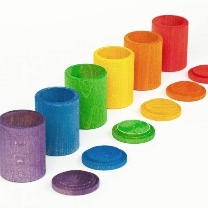 Grapat Coppette colorate con coperchio giochi in legno -0