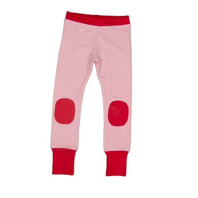 Moromini Leggings rosa con toppa rossa-0