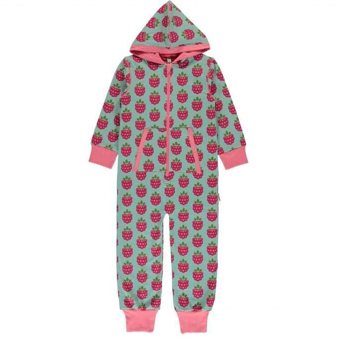 Maxomorra tuta maniche lunghe con cappuccio/one piece Raspberry-0