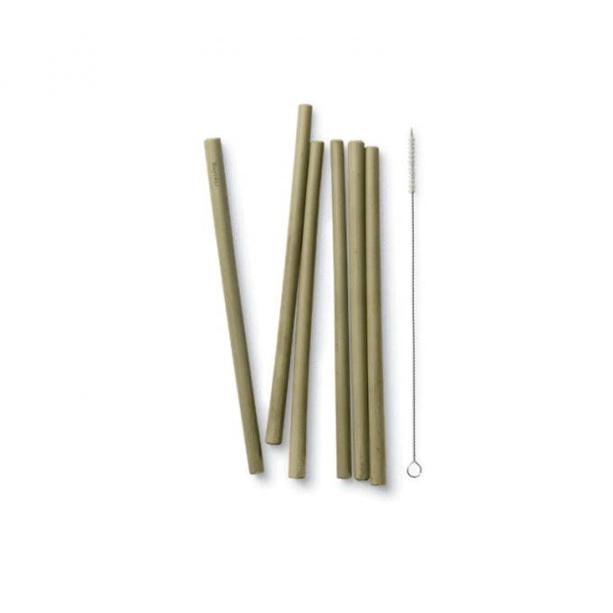 Bambu Set di cannucce riutilizzabili in bamboo con spazzola-0