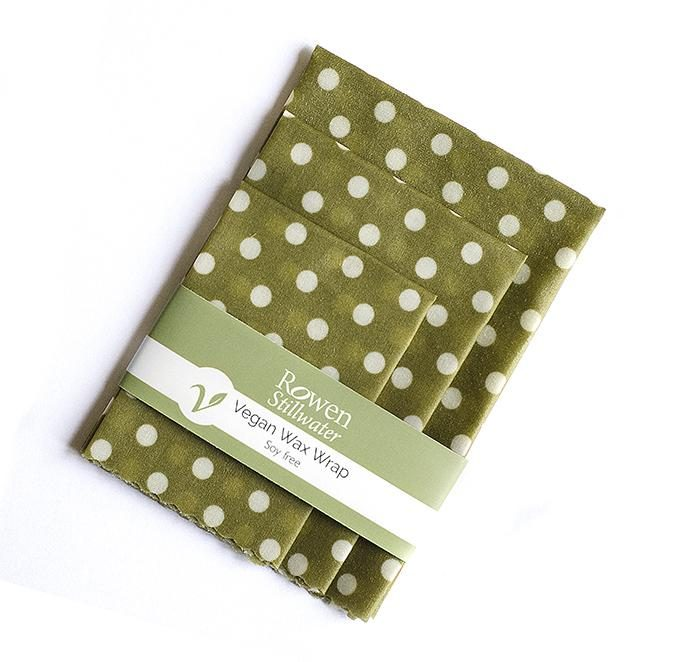 Rowen Stillwater Pellicola in cera vegetale vegan Green Polka Dot set da 3 -0