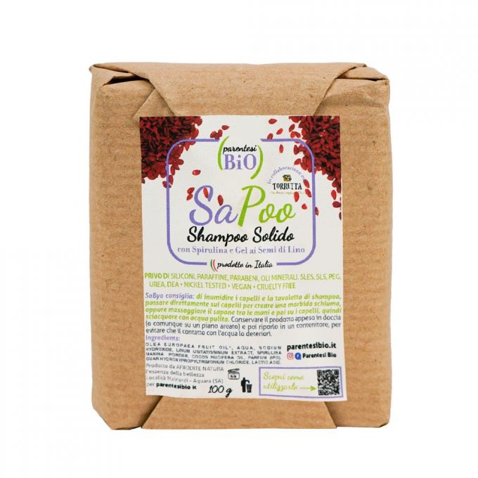 Parentesi Bio SaPoo Shampoo Solido con spirulina e gel ai semi di lino -0