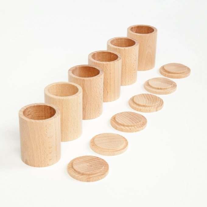 Grapat Coppe con coperchio in legno naturale -0