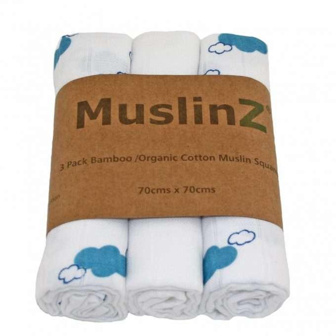 MuslinZ Muslin/Mussola in bamboo e cotone biologico Nuvole Blu-0
