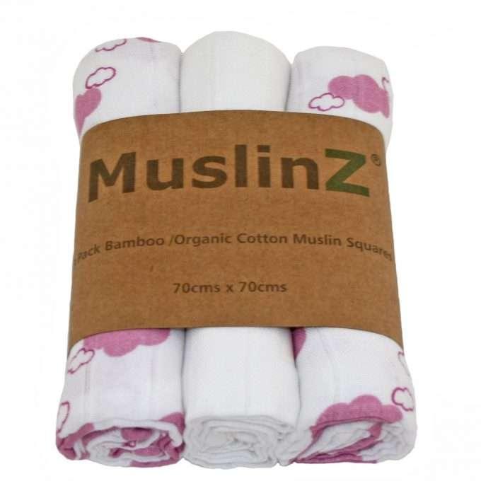 MuslinZ Muslin/Mussola in bamboo e cotone biologico Nuvole Rosa-0