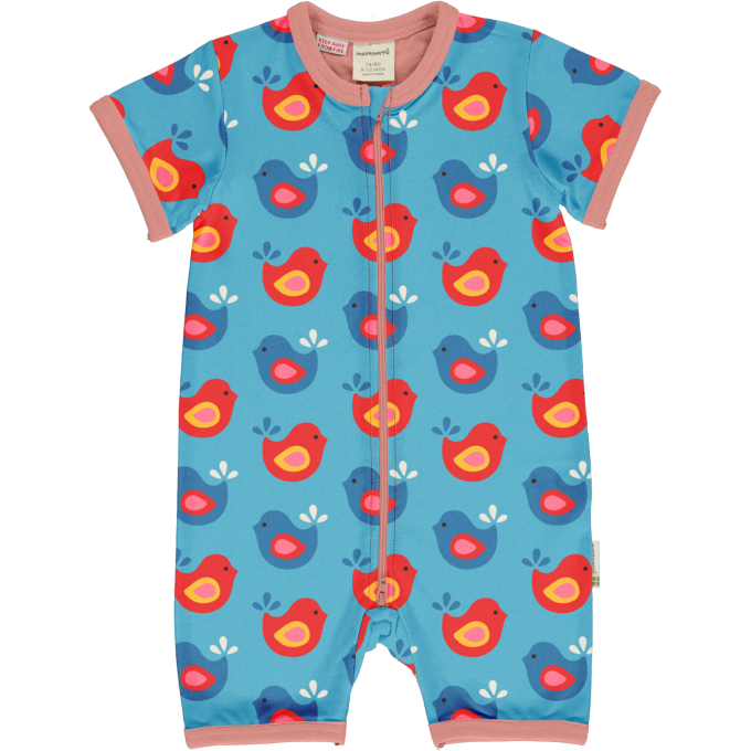 Maxomorra Tuta Maniche Corte Zip Bright Birds-0