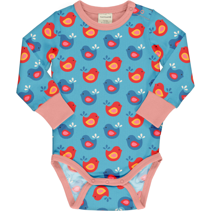 Maxomorra Body Manica Lunga Bright Birds-0