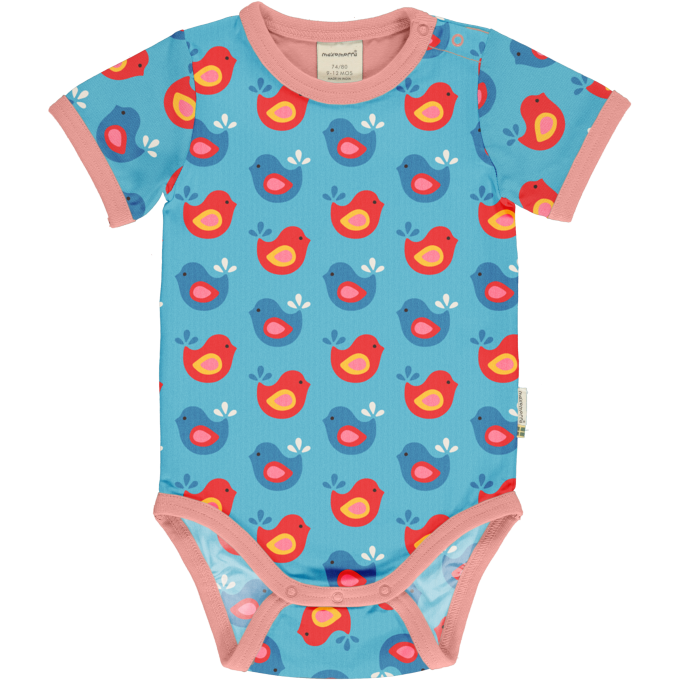Maxomorra Body Manica Corta Bright Birds-0