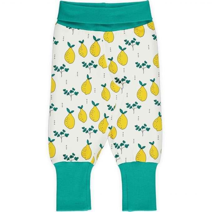 Maxomorra Meyaday Pants rib Pantaloni Leafy Lemon-0